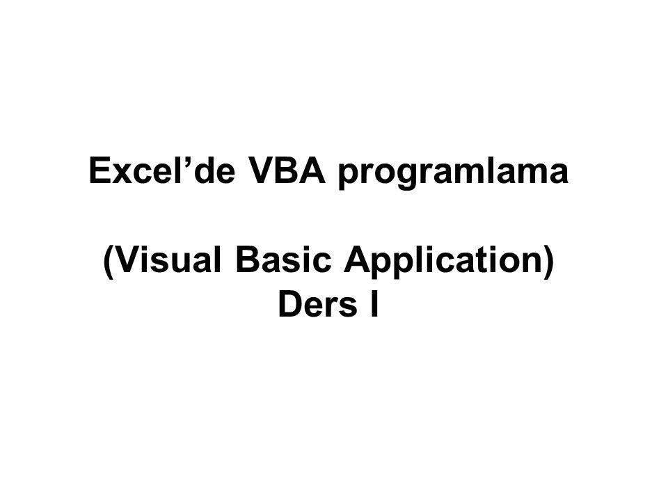 İçerik VBA Editörü Veri Saklama Operatörleri Şart ve Döngü Deyimleri Yordam ve Fonksiyonlar Karakter Katarı İşlemleri Dosya İşlemleri Kullanıcı Formları Oluşturmak Excel Nesne Modeli Workbook Nesnesi Worksheet Nesnesi Range Nesnesi ve Cells Özellikleri Workbook İçeriğini Yönetmek Grafiklerle Çalışmak VBA ProgramlamaExcel Bileşenleri