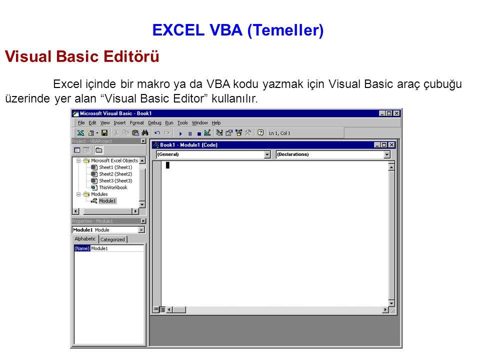 """EXCEL VBA (Temeller) Excel içinde bir makro ya da VBA kodu yazmak için Visual Basic araç çubuğu üzerinde yer alan """"Visual Basic Editor"""" kullanılır. Vi"""