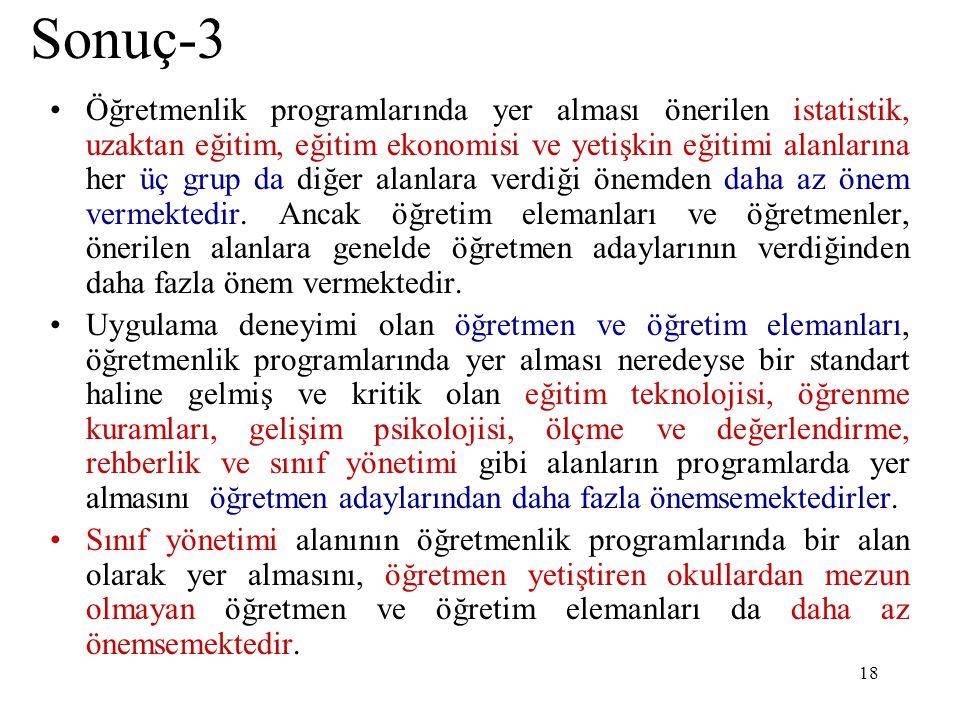 18 Sonuç-3 Öğretmenlik programlarında yer alması önerilen istatistik, uzaktan eğitim, eğitim ekonomisi ve yetişkin eğitimi alanlarına her üç grup da d