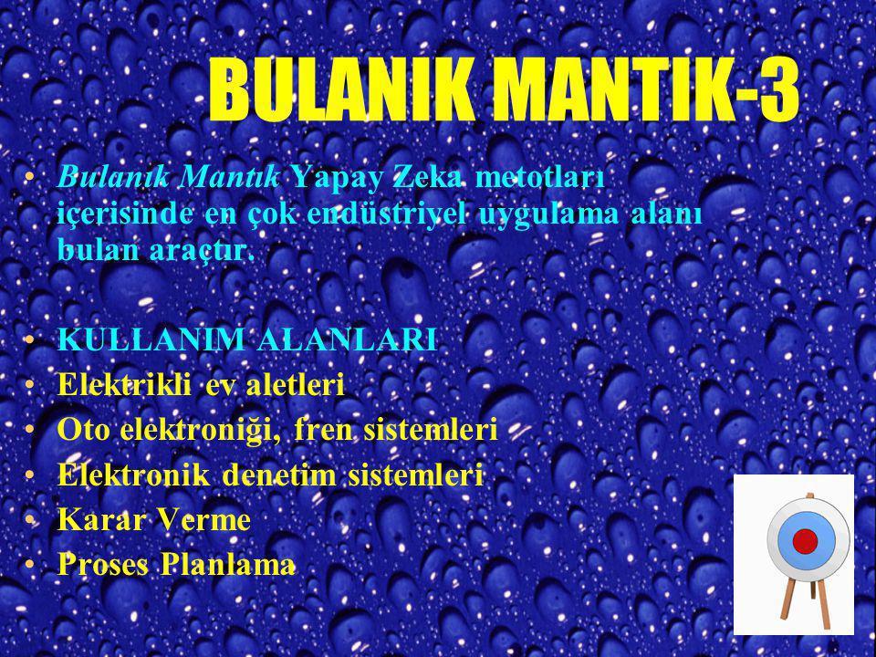 BULANIK MANTIK-2 Bulanık Mantık---> Temeli Bulanık Küme Kuramı'na dayanır (ZADEH, 1965). Geleneksel mantık sistemi yalnızca 1 ve 0 üzerine kuruludur.