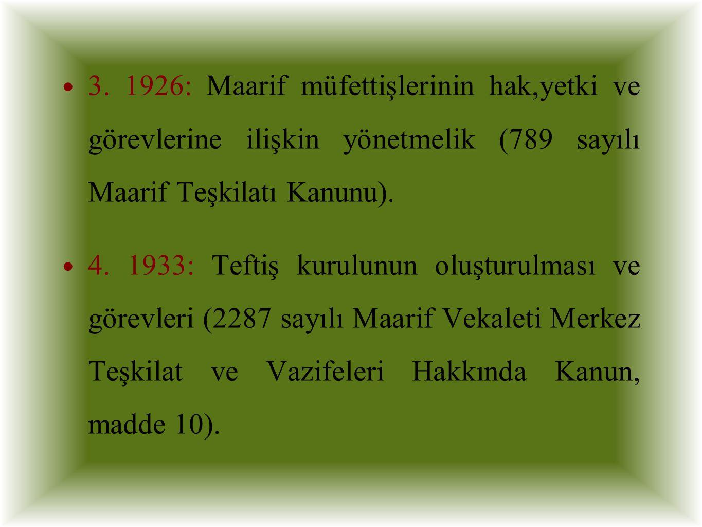 3. 1926: Maarif müfettişlerinin hak,yetki ve görevlerine ilişkin yönetmelik (789 sayılı Maarif Teşkilatı Kanunu). 4. 1933: Teftiş kurulunun oluşturulm