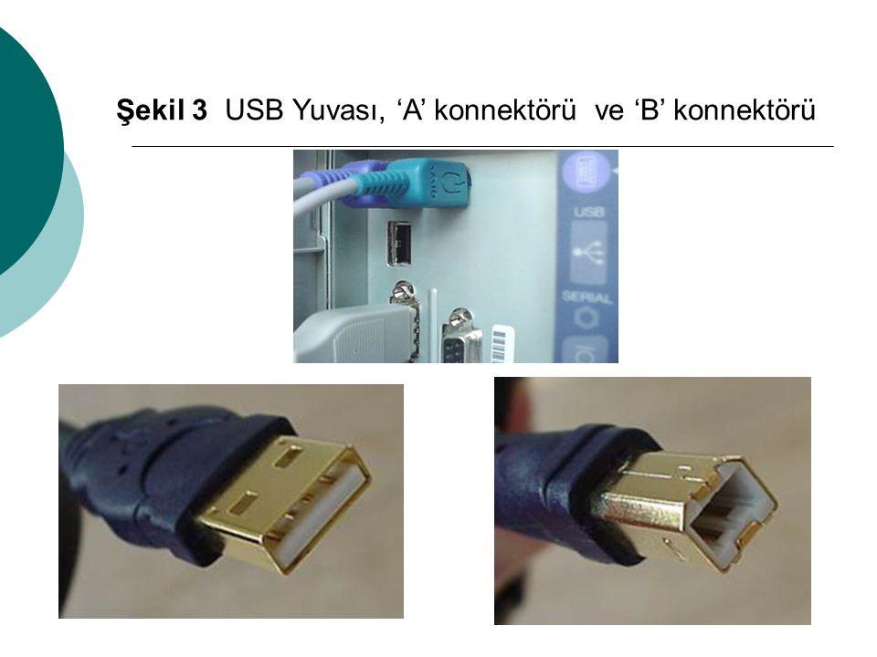 Şekil 3 USB Yuvası, 'A' konnektörü ve 'B' konnektörü