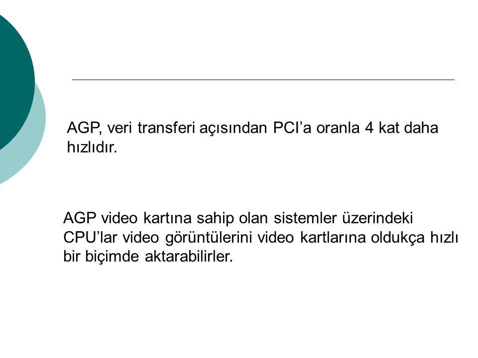 AGP, veri transferi açısından PCI'a oranla 4 kat daha hızlıdır. AGP video kartına sahip olan sistemler üzerindeki CPU'lar video görüntülerini video ka