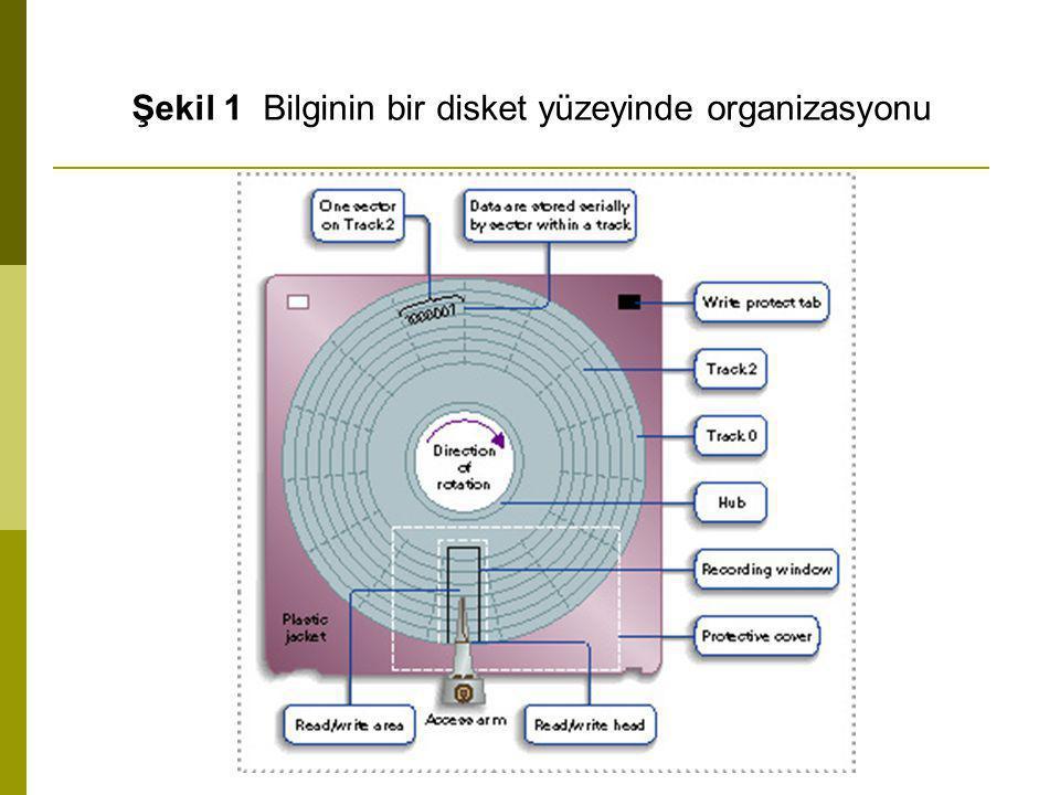 Şekil 1 Bilginin bir disket yüzeyinde organizasyonu