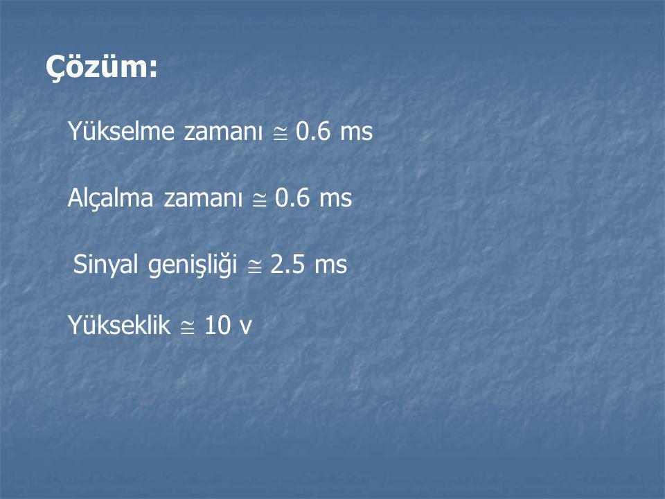 Çözüm: Yükselme zamanı  0.6 ms Alçalma zamanı  0.6 ms Sinyal genişliği  2.5 ms Yükseklik  10 v