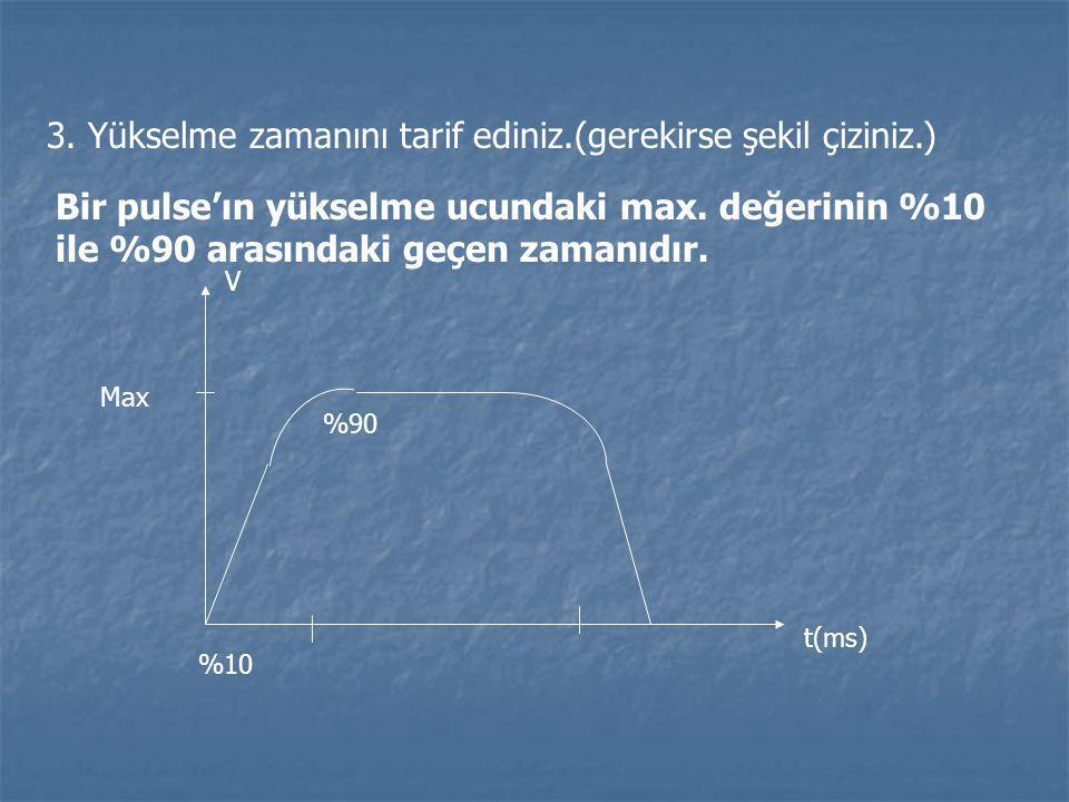3. Yükselme zamanını tarif ediniz.(gerekirse şekil çiziniz.) Bir pulse'ın yükselme ucundaki max. değerinin %10 ile %90 arasındaki geçen zamanıdır. V M