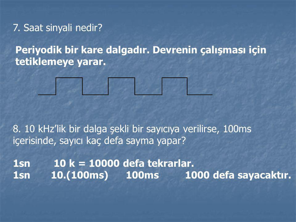 7. Saat sinyali nedir? Periyodik bir kare dalgadır. Devrenin çalışması için tetiklemeye yarar. 8. 10 kHz'lik bir dalga şekli bir sayıcıya verilirse, 1