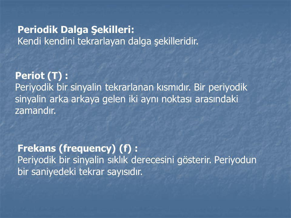 Periodik Dalga Şekilleri: Kendi kendini tekrarlayan dalga şekilleridir. Periot (T) : Periyodik bir sinyalin tekrarlanan kısmıdır. Bir periyodik sinyal