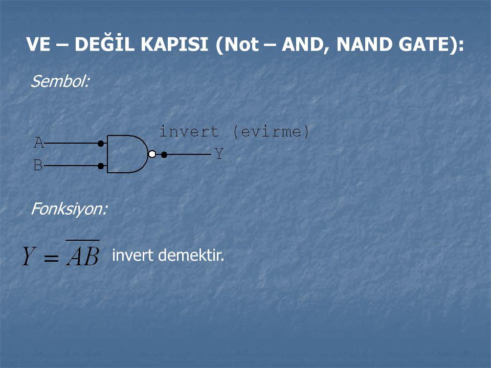 VE – DEĞİL KAPISI (Not – AND, NAND GATE): Sembol: Fonksiyon: invert demektir.
