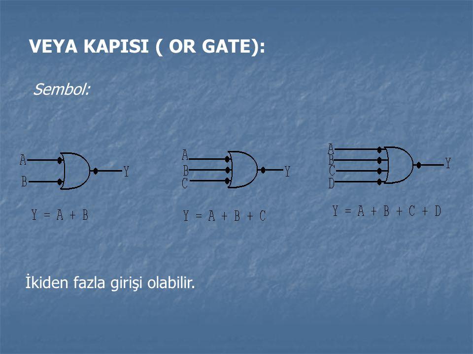 VEYA KAPISI ( OR GATE): Sembol: İkiden fazla girişi olabilir.