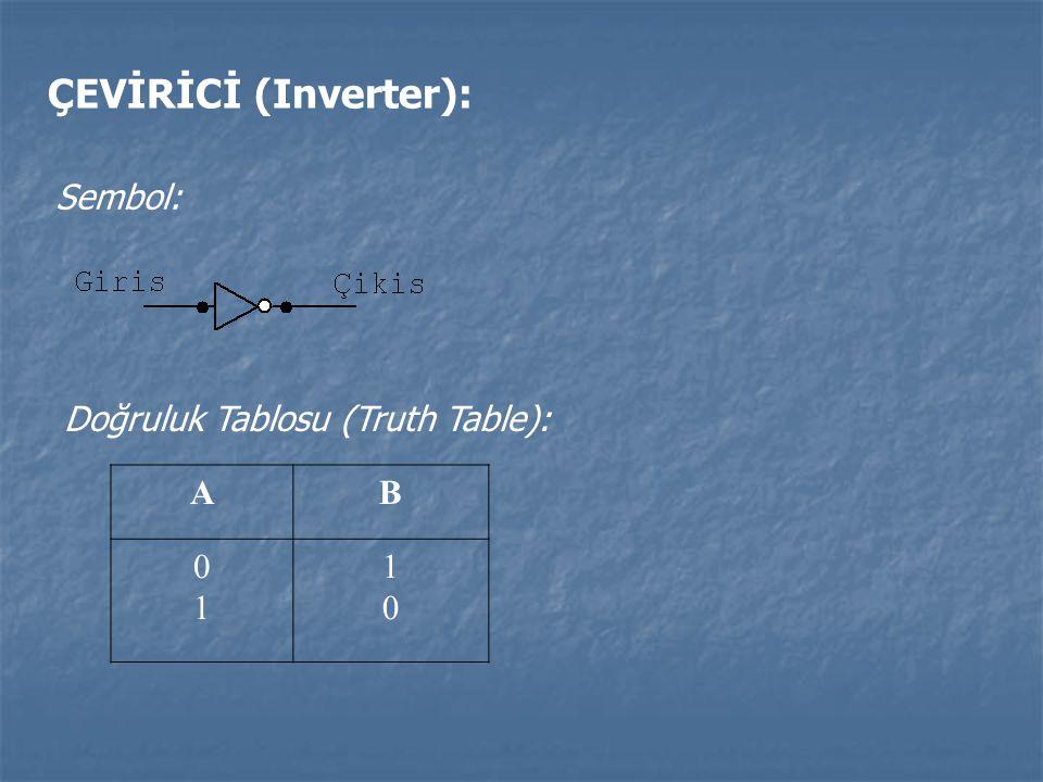 ÇEVİRİCİ (Inverter): Sembol: Doğruluk Tablosu (Truth Table): AB 0101 1010