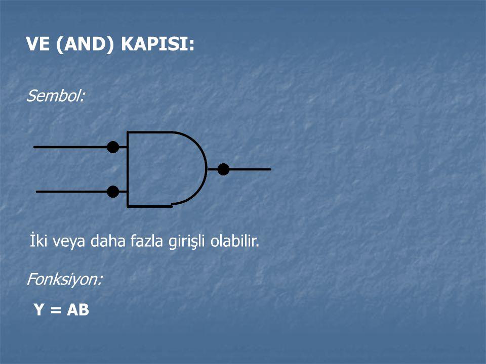 VE (AND) KAPISI: Sembol: İki veya daha fazla girişli olabilir. Fonksiyon: Y = AB