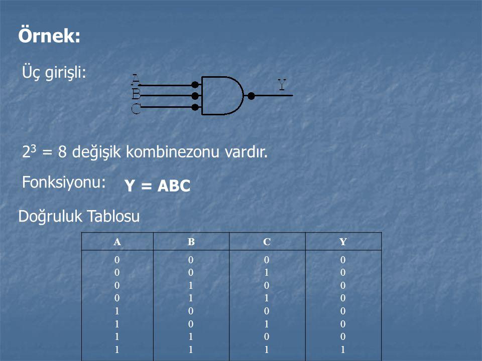 Örnek: Üç girişli: 2 3 = 8 değişik kombinezonu vardır. Doğruluk Tablosu ABCY 0000111100001111 0011001100110011 0101010101010101 0000000100000001 Fonks