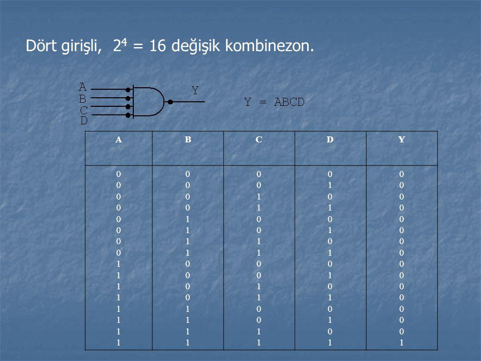 Dört girişli, 2 4 = 16 değişik kombinezon. ABCDY 00000000111111110000000011111111 00001111000011110000111100001111 00110011001100110011001100110011 01