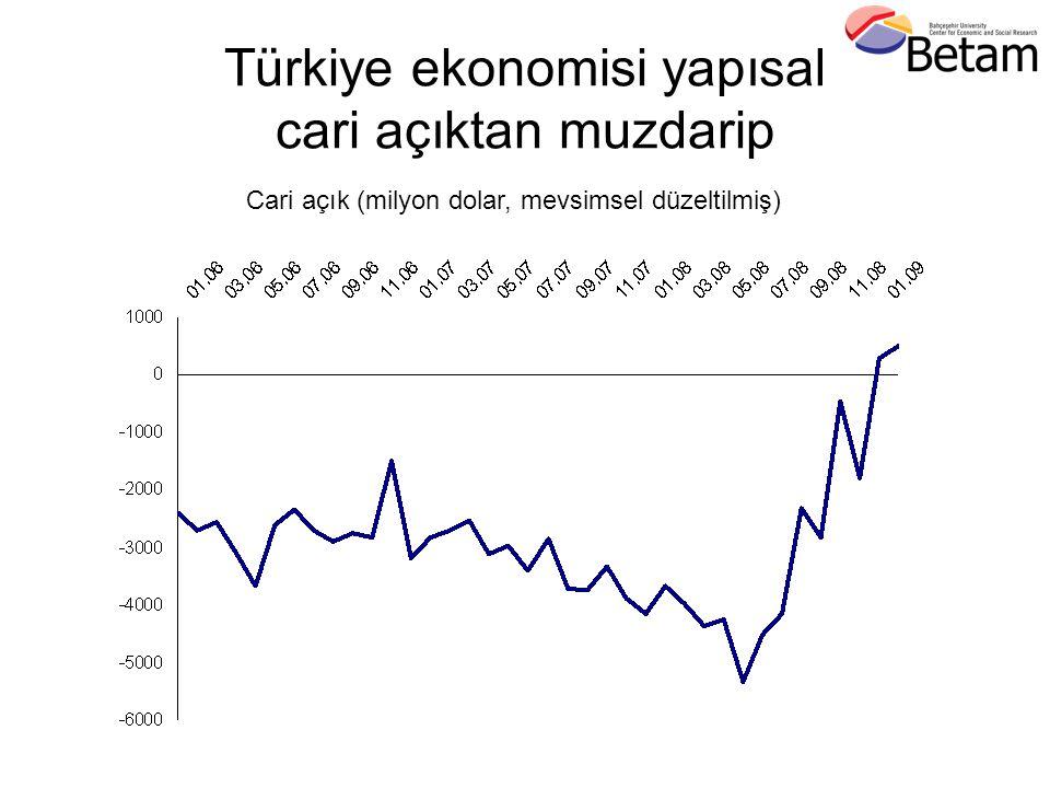 Türkiye ekonomisi yapısal cari açıktan muzdarip Cari açık (milyon dolar, mevsimsel düzeltilmiş)