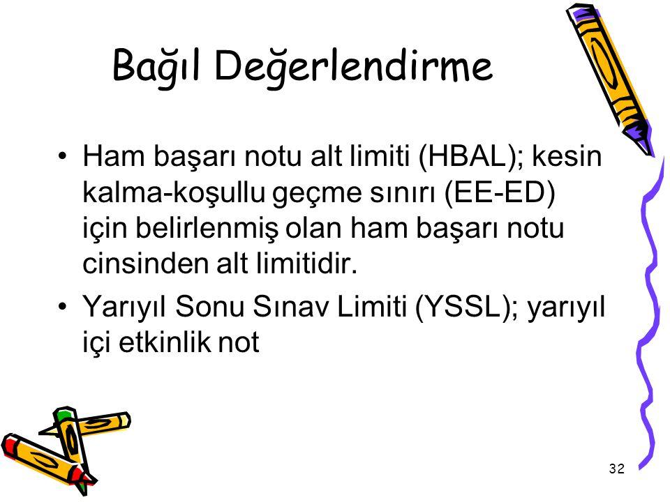 32 Bağıl D eğerlendirme Ham başarı notu alt limiti (HBAL); kesin kalma-koşullu geçme sınırı (EE-ED) için belirlenmiş olan ham başarı notu cinsinden alt limitidir.