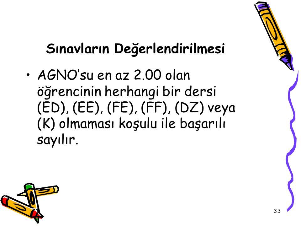 33 Sınavların D eğerlendirilmesi AGNO'su en az 2.00 olan öğrencinin herhangi bir dersi (ED), (EE), (FE), (FF), (DZ) veya (K) olmaması koşulu ile başarılı sayılır.