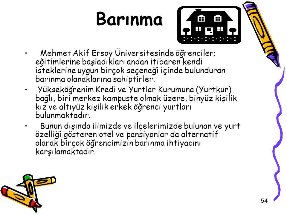 54 Barınma Mehmet Akif Ersoy Üniversitesinde öğrenciler; eğitimlerine başladıkları andan itibaren kendi isteklerine uygun birçok seçeneği içinde bulunduran barınma olanaklarına sahiptirler.