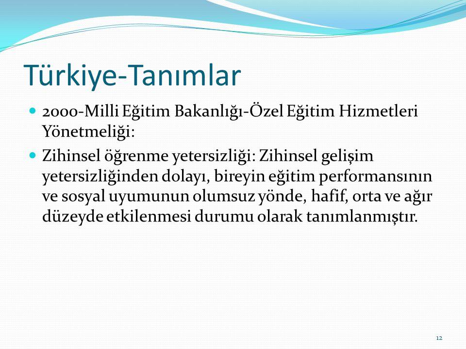 Türkiye-Tanımlar 2000-Milli Eğitim Bakanlığı-Özel Eğitim Hizmetleri Yönetmeliği: Zihinsel öğrenme yetersizliği: Zihinsel gelişim yetersizliğinden dolayı, bireyin eğitim performansının ve sosyal uyumunun olumsuz yönde, hafif, orta ve ağır düzeyde etkilenmesi durumu olarak tanımlanmıştır.