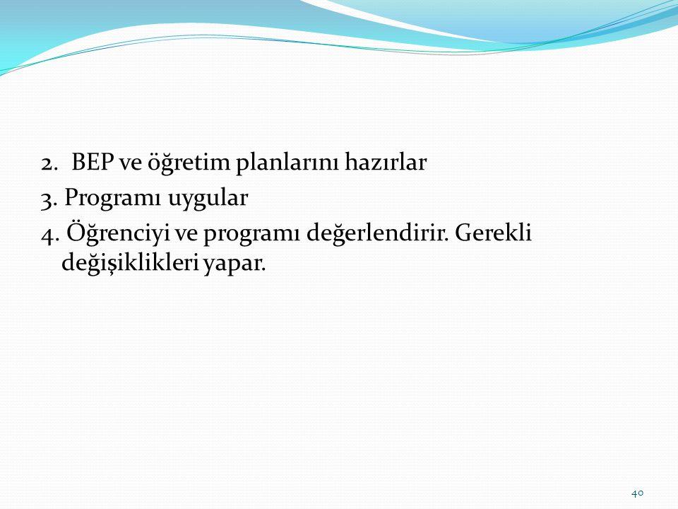 2.BEP ve öğretim planlarını hazırlar 3. Programı uygular 4.