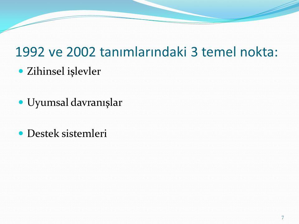 1992 ve 2002 tanımlarındaki 3 temel nokta: Zihinsel işlevler Uyumsal davranışlar Destek sistemleri 7