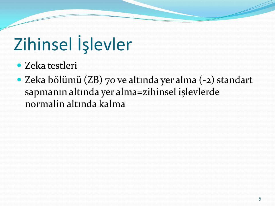 Zihinsel İşlevler Zeka testleri Zeka bölümü (ZB) 70 ve altında yer alma (-2) standart sapmanın altında yer alma=zihinsel işlevlerde normalin altında kalma 8