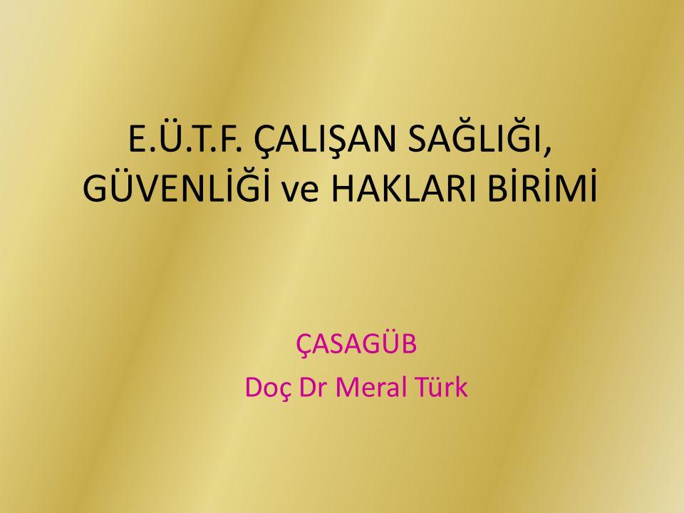 E.Ü.T.F. ÇALIŞAN SAĞLIĞI, GÜVENLİĞİ ve HAKLARI BİRİMİ ÇASAGÜB Doç Dr Meral Türk