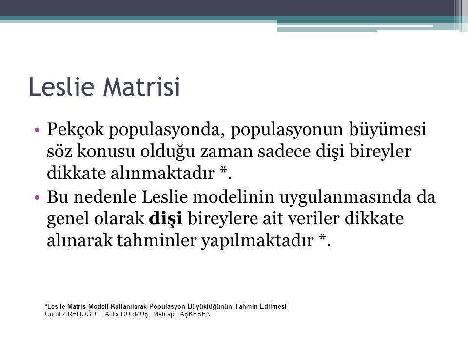 Leslie Matrisi Pekçok populasyonda, populasyonun büyümesi söz konusu olduğu zaman sadece dişi bireyler dikkate alınmaktadır *. Bu nedenle Leslie model