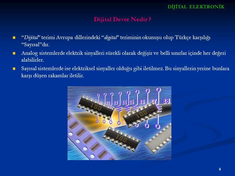 """4 Dijital Devre Nedir ? """"Dijital"""" terimi Avrupa dillerindeki """"digital"""" teriminin okunuşu olup Türkçe karşılığı """"Sayısal""""dır. Analog sistemlerde elektr"""