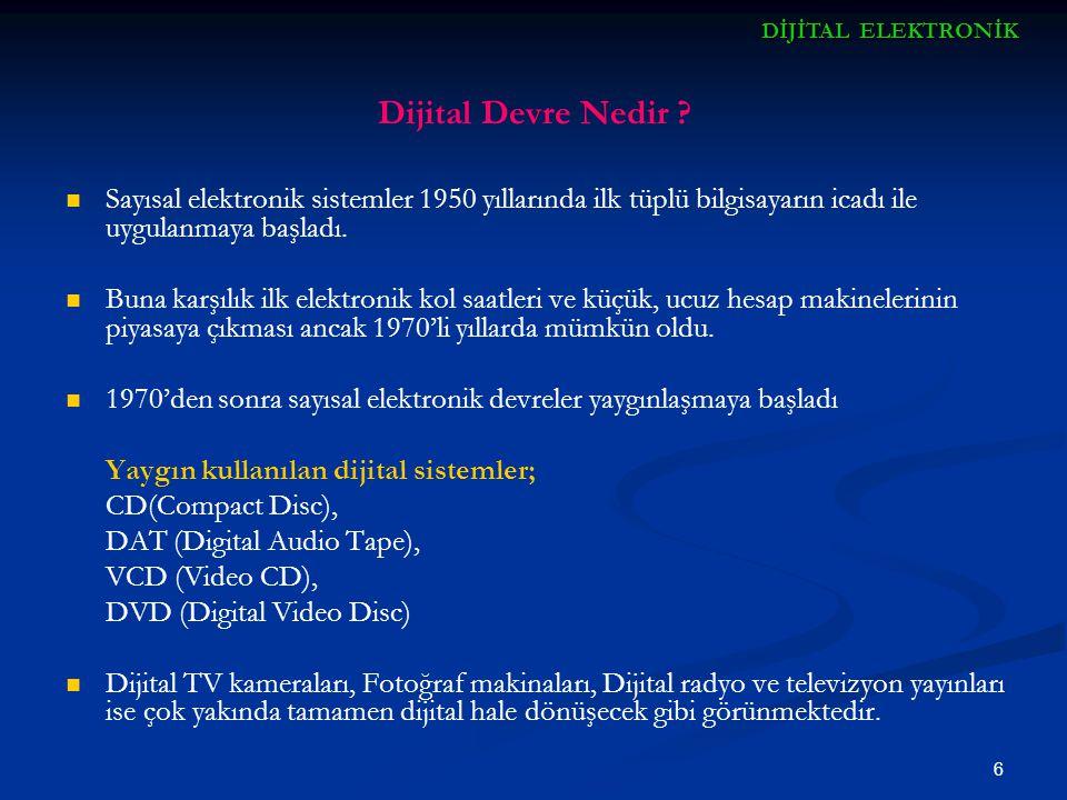 6 Dijital Devre Nedir ? Sayısal elektronik sistemler 1950 yıllarında ilk tüplü bilgisayarın icadı ile uygulanmaya başladı. Buna karşılık ilk elektroni