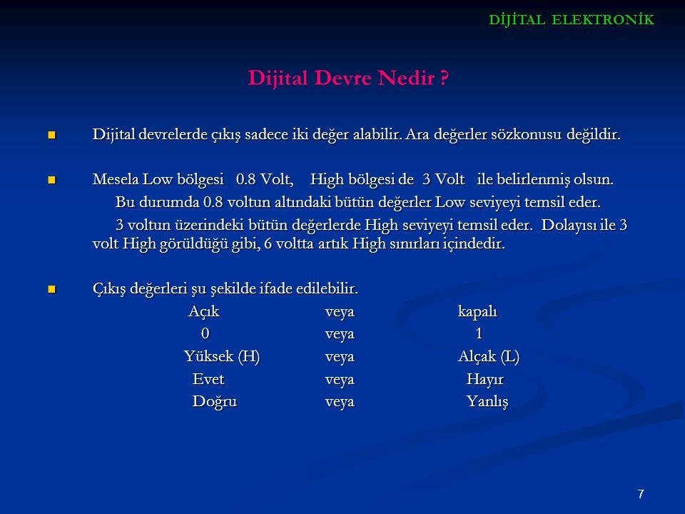 7 Dijital Devre Nedir ? Dijital devrelerde çıkış sadece iki değer alabilir. Ara değerler sözkonusu değildir. Dijital devrelerde çıkış sadece iki değer