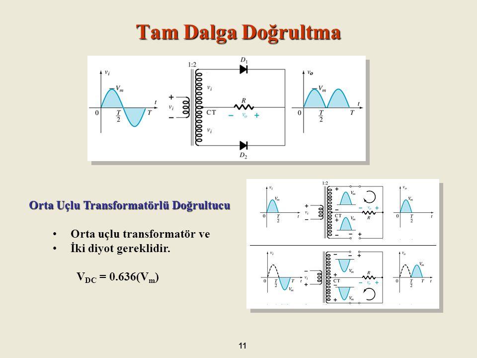Doğrultucu Devre Uygulamaları 12 Doğrultucu İdeal V DC Gerçek V DC Yarım Dalga Doğrultucu DC V DC = 0.318(Vm DCm V DC = 0.318V m – 0.7 Köprü Tipi Doğrultucu DC V DC = 0.636(Vm) DC V DC = 0.636(Vm) – 2(0.7) Orta Uçlu Transformatörlü Doğrultucu DC V DC = 0.636(Vm) DC V DC = 0.636(Vm) – 0.7