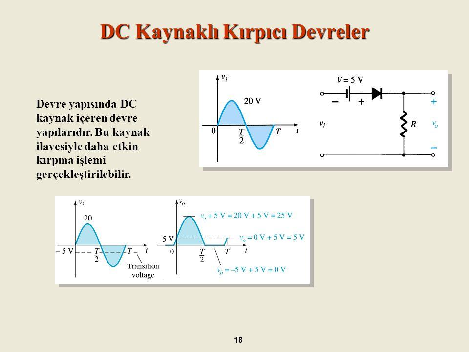 Paralel Kırpıcı Devreler 19 Paralel bir kırpıcı devresinde diyot, kendisini ileri yönde öngerilimleyen herhangi bir işareti kırpar.