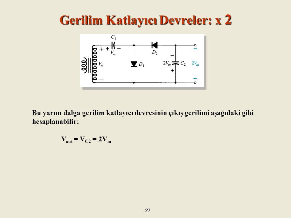 Gerilim İkileyici 28 Pozitif Alternansta; oD 1 iletimde oD 2 kesimde oC 1 kapasitörü V m 'e şarj olur.