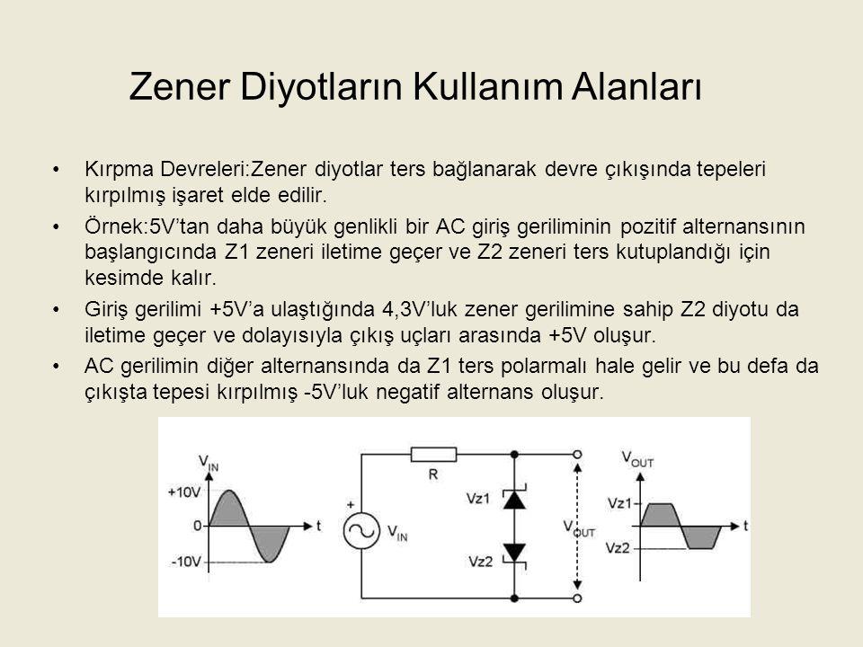 Zener Diyotların Kullanım Alanları Ölçü Aletlerinin Korunması:Voltmetre bobininin yüksek gerilimden korunabilmesi için bobine paralel bağlı bir zener diyot yerleştirilir.