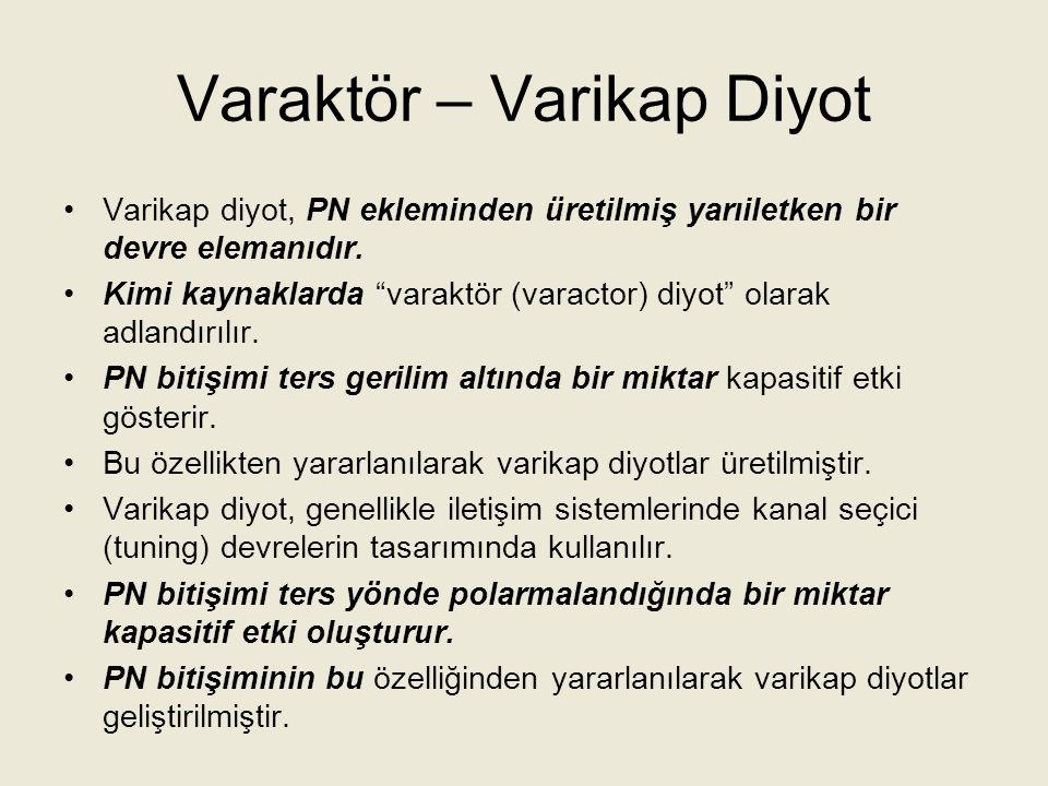 Varaktör – Varikap Diyot Varikap diyotu; ters polarma altında kapasitansı değişen diyot veya yarıiletken kondansatör olarak tanımlayabiliriz.