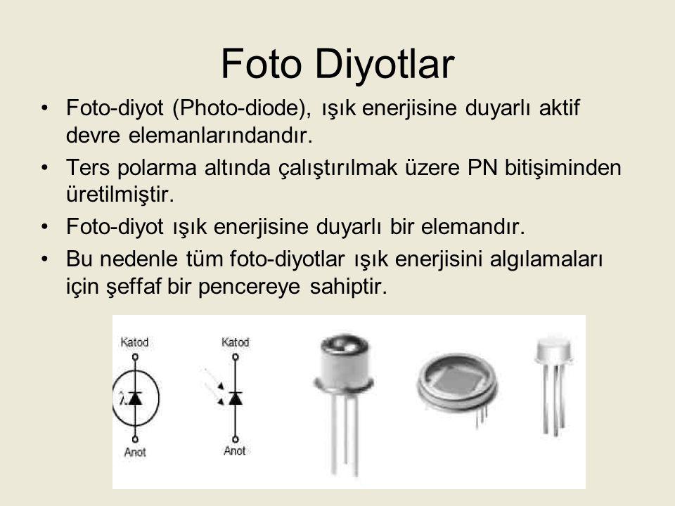 Foto Diyotlar Foto-diyot; doğru polarma altında normal diyotlar gibi iletkendir.