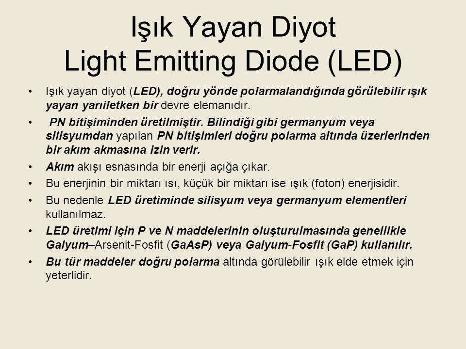 Işık Yayan Diyot Light Emitting Diode (LED) LED in şematik sembolü ve doğru polarma altında PN bitişiminde ışık enerjisinin oluşumu aşağıdaki şekilde görülmektedir.