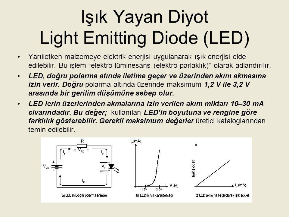 Işık Yayan Diyot Light Emitting Diode (LED) LED'in yaydığı ışık enerjisinin şiddeti ve rengi imalatta kullanılan katkı maddesine göre değişmektedir.