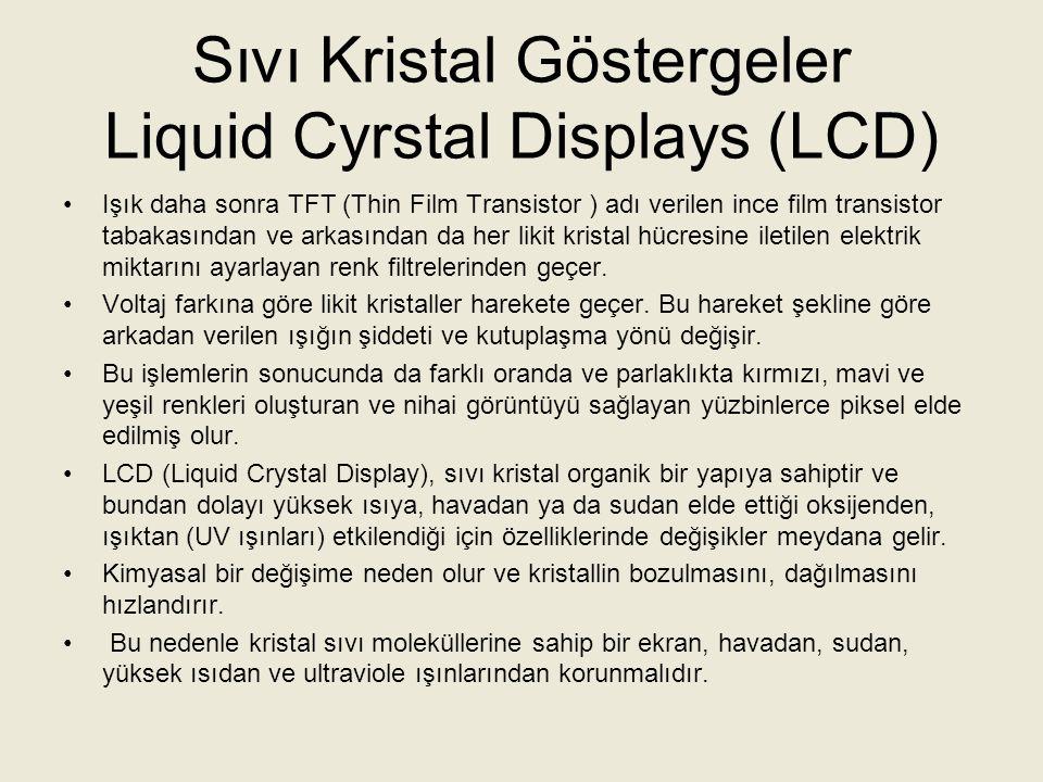 Sıvı Kristal Göstergeler Liquid Cyrstal Displays (LCD) LCD televizyonlar ince yapılarından dolayı hem yer kazancı sağlarlar hem de hafif olduklarından taşıması kolaydır.
