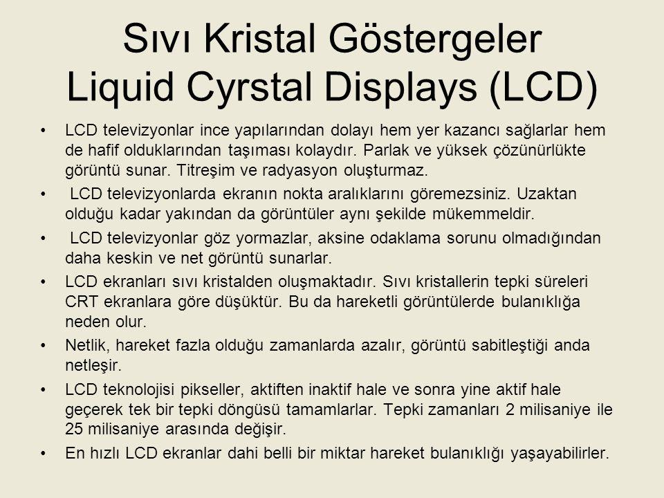 Sıvı Kristal Göstergeler Liquid Cyrstal Displays (LCD) LCD pikselleri, arkalarındaki bir ışık kaynağından ışık aldıkları için LCD ekranlar 45 derece kadar küçük açılarla izlenseler dahi kontrast ve renk kaybı yaşabilirler.