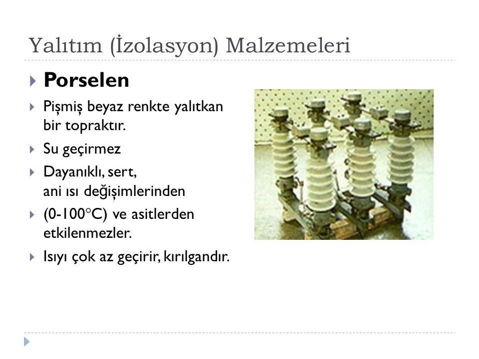 Yalıtım (İzolasyon) Malzemeleri  Porselen  Pişmiş beyaz renkte yalıtkan bir topraktır.