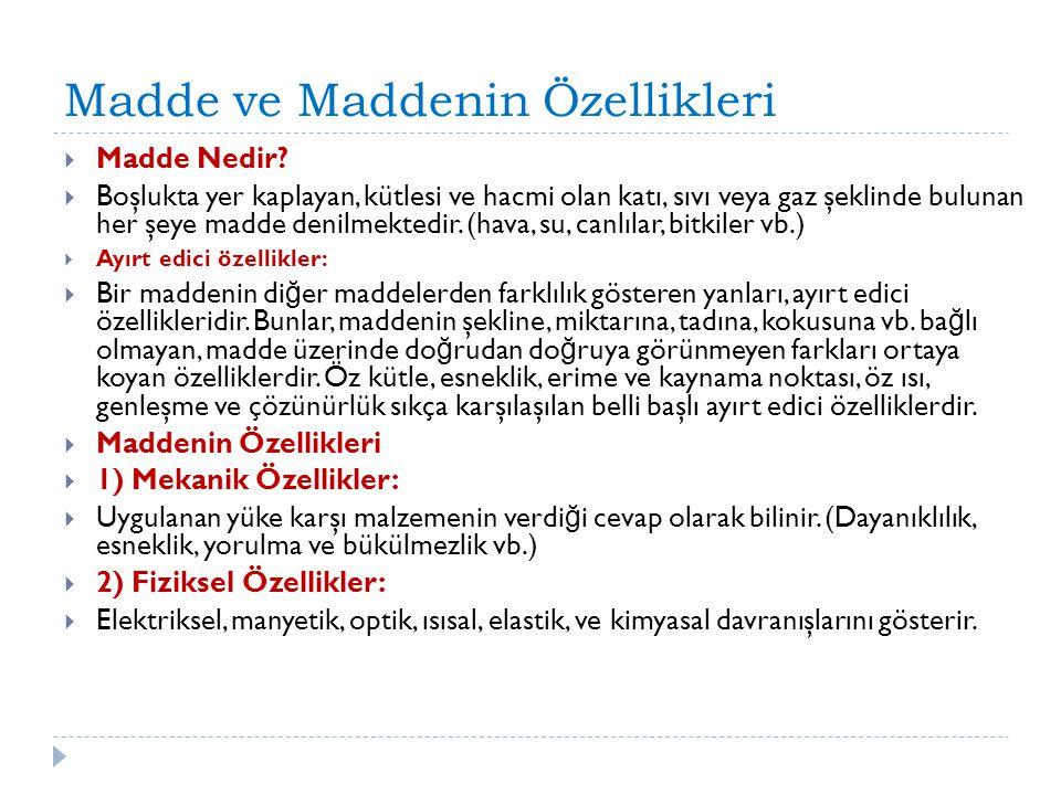 Madde ve Maddenin Özellikleri  Madde Nedir.