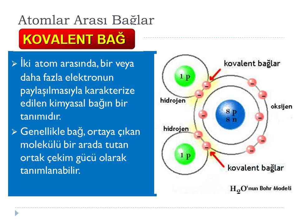 Atomlar Arası Bağlar  İ ki atom arasında, bir veya daha fazla elektronun paylaşılmasıyla karakterize edilen kimyasal ba ğ ın bir tanımıdır.  Genelli