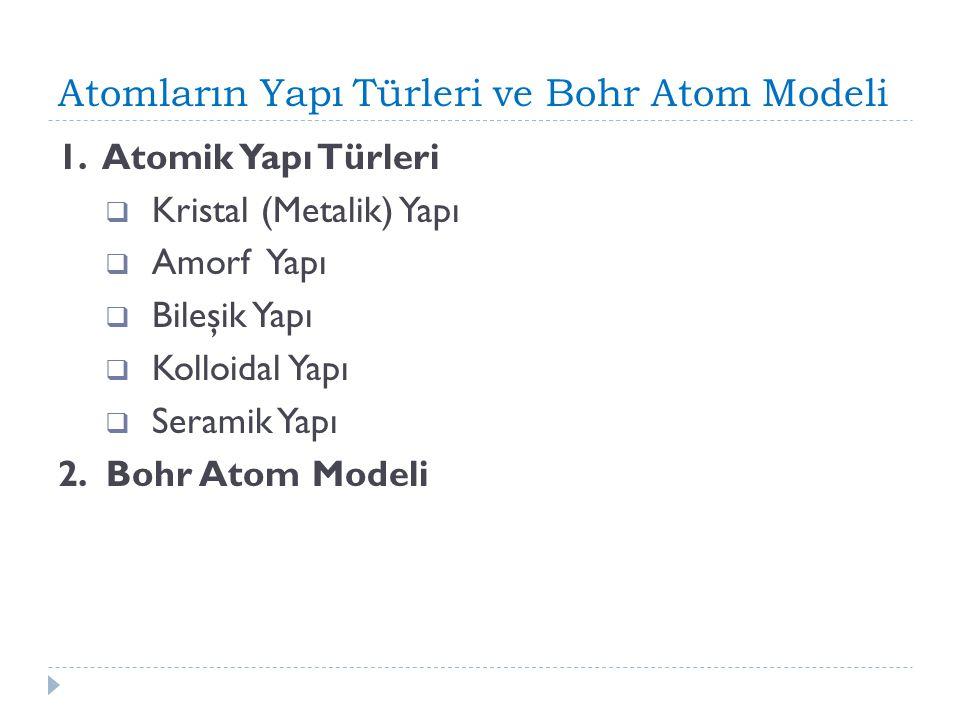 Atomların Yapı Türleri ve Bohr Atom Modeli 1. Atomik Yapı Türleri  Kristal (Metalik) Yapı  Amorf Yapı  Bileşik Yapı  Kolloidal Yapı  Seramik Yapı