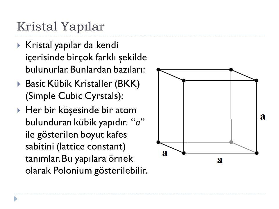 Kristal Yapılar  Kristal yapılar da kendi içerisinde birçok farklı şekilde bulunurlar. Bunlardan bazıları:  Basit Kübik Kristaller (BKK) (Simple Cub