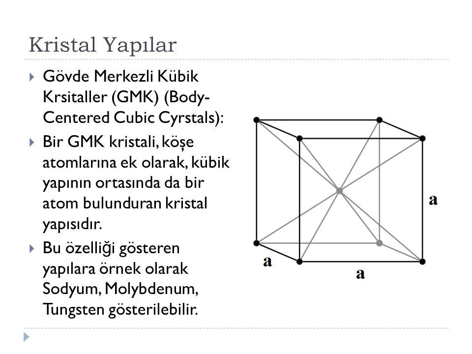 Kristal Yapılar  Gövde Merkezli Kübik Krsitaller (GMK) (Body- Centered Cubic Cyrstals):  Bir GMK kristali, köşe atomlarına ek olarak, kübik yapının ortasında da bir atom bulunduran kristal yapısıdır.