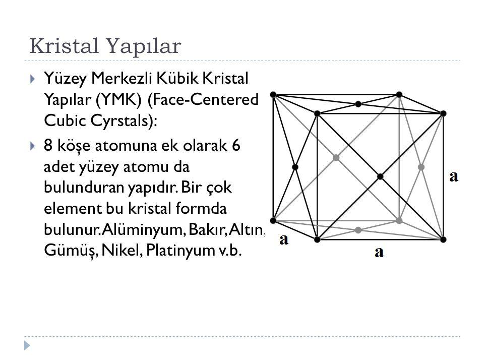 Kristal Yapılar  Yüzey Merkezli Kübik Kristal Yapılar (YMK) (Face-Centered Cubic Cyrstals):  8 köşe atomuna ek olarak 6 adet yüzey atomu da bulunduran yapıdır.