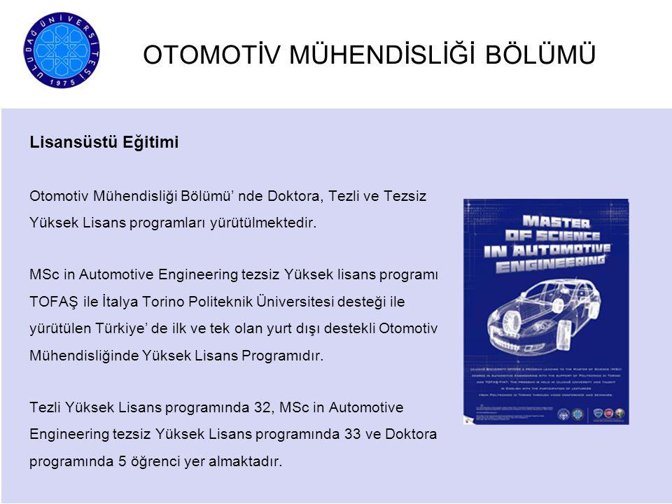OTOMOTİV MÜHENDİSLİĞİ BÖLÜMÜ Lisansüstü Eğitimi Otomotiv Mühendisliği Bölümü' nde Doktora, Tezli ve Tezsiz Yüksek Lisans programları yürütülmektedir.