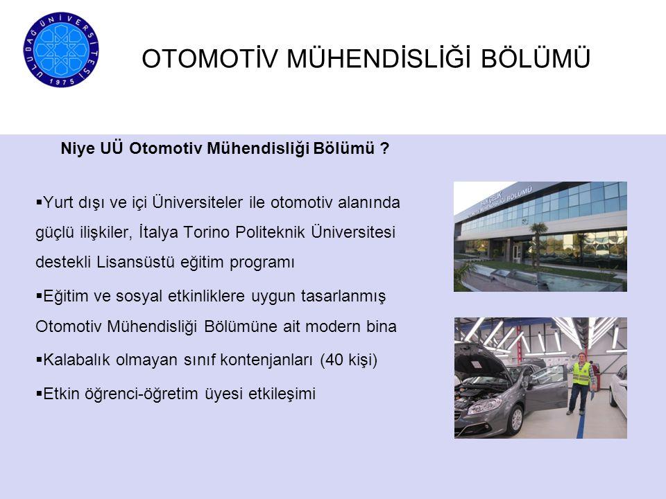 OTOMOTİV MÜHENDİSLİĞİ BÖLÜMÜ Niye UÜ Otomotiv Mühendisliği Bölümü ?  Yurt dışı ve içi Üniversiteler ile otomotiv alanında güçlü ilişkiler, İtalya Tor